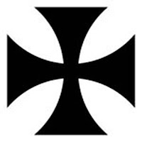 Cross pattée  -  A cross pattee (pattée, patty) has arms narrowing towards the centre, but with non-indented ends.