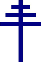 Papal Cross - The three cross-bars represent the Roman Catholic Pope's triple role as Bishop of Rome, Patriarch of the West, and successor of St. Peter, Chief of the Apostles.