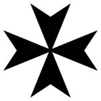 "Maltese cross 	-  With arms which narrow towards the center, and are indented at the ends. The ""eight-pointed cross"" (with no curved lines)."