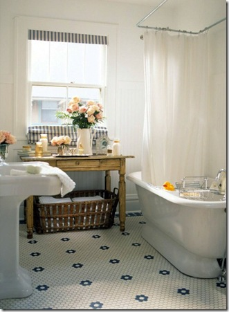 bgh mosaic tile bathroom with beadboard walls