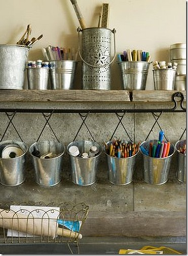 silver- simply natural silver bucket organizer