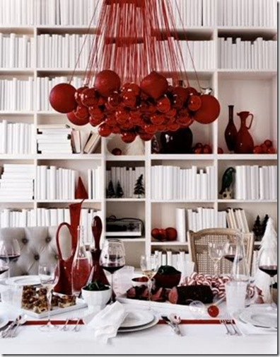 i suwannee bookshelves with red christmas ornaments