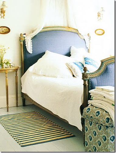 brabourne farm blue bed with gilded accents