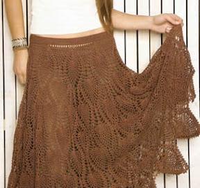 Falda Con Pi  As Tejidas A Crochet