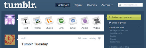 Dashboard de Tumblr