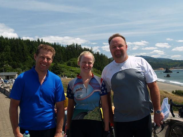 Dave, Me, and Bob - two other cyclists (as well as their families) that I met on the Oregon coast.