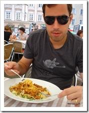 Leo e seu espaguete à bolonhesa