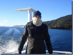 Leo e o lago Nahuel Huapi, com muito frio