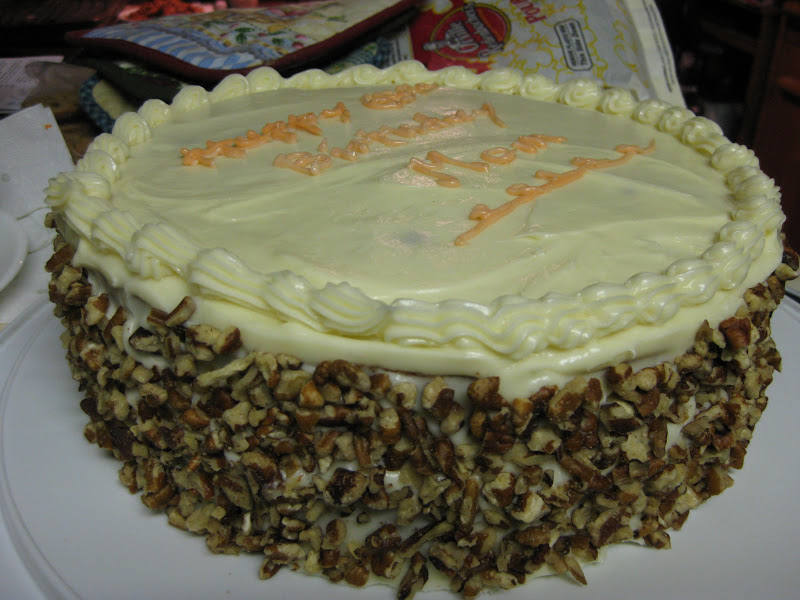Carrot cake, side view, uncut