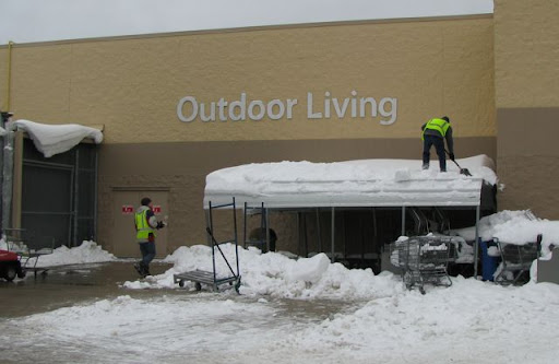Walmart Outdoor Living awning with snow