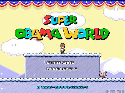 「SUPER OBAMA WORLD」オバマ次期大統領が華麗に飛びまくるスーパーマリオみたいなアクションゲーム
