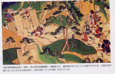 対弓矢に対しては置き盾があり、鉄砲や火縄銃に対しては竹で盾のような物を作っていた