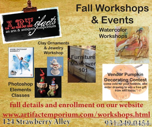 Fall Workshops and Events at ARTifacts Emporium