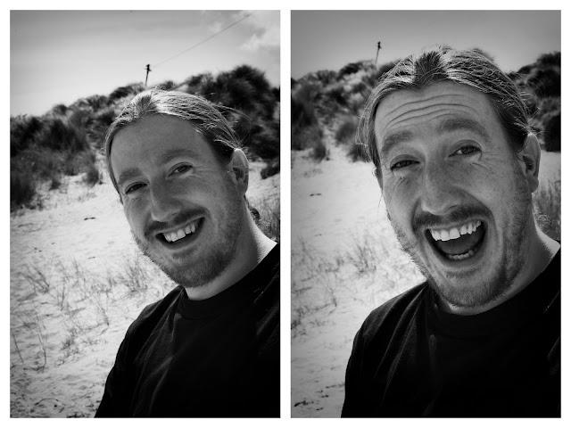 Chris is a happy beach goer