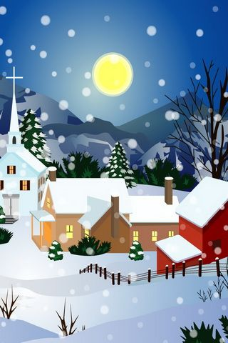 Christmas Snow Town Graphic Wallpaper For iPhone