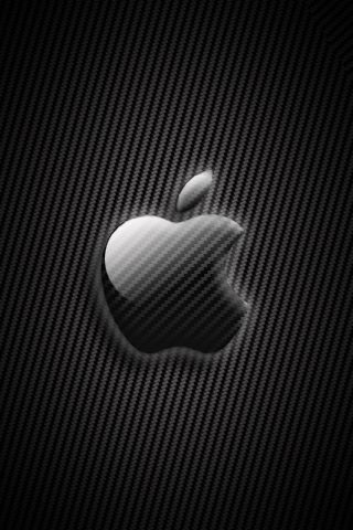 Black Apple Logo Design Background For iPhone