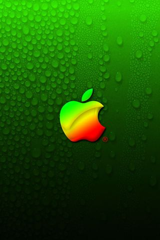 Apple Logo on Green Background For iPhone