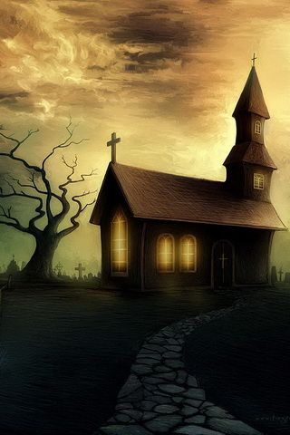 Haunted House Graphic iPhone Wallpaper