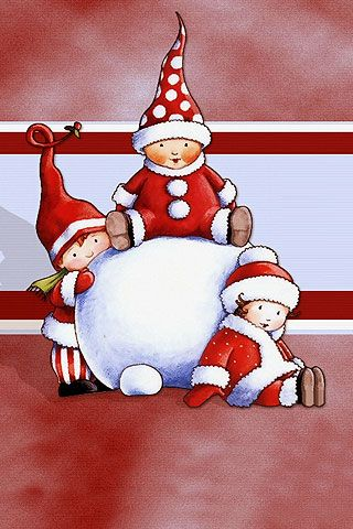 Santa Babies Picture Graphic iPhone Wallpaper