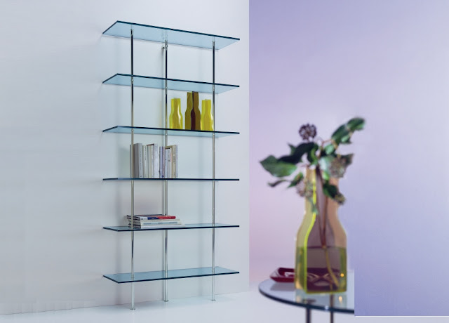 Transparent Glass Bookcase Wall Unit Design