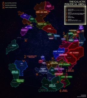 Eve Online political map as of middle 2009 - we lived where Against All Authorities is maked, they kicked us out and kept the space for years.