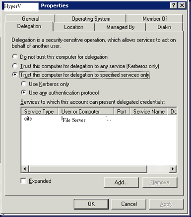 09-02-20 Hyper-V Constrained Delegation Settings in ADUC
