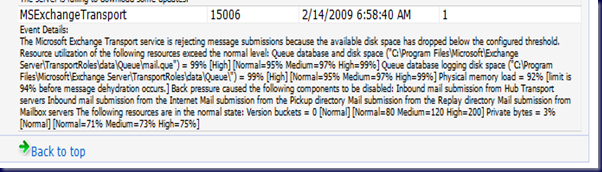 09-02-24 SBS Storage - Exchange Error due to disk space