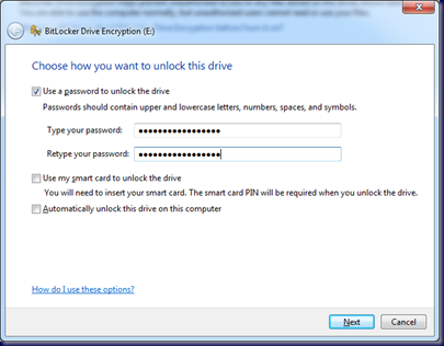 09-10-14 BitLocker To Go - 6 - Set Password to Unlock