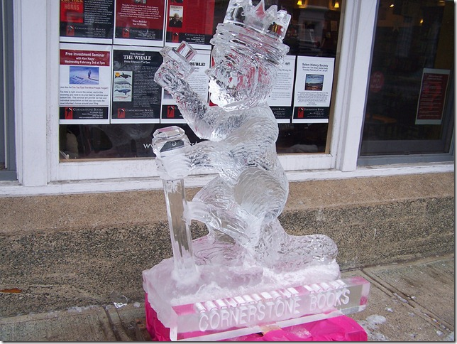 Cornerstone Books' ice sculpture, February 2010