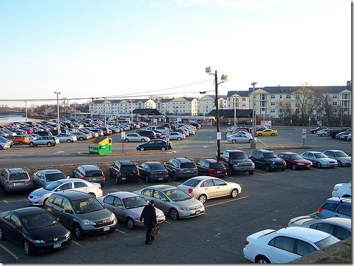 Salem Depot parking lot, nearly full at 7:30 AM