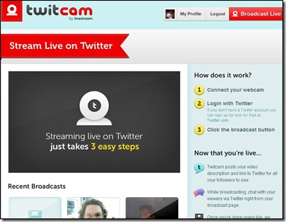 Streaming video online dal vivo su Twitter con TwitCam