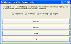 Windows Live Writer Backup utility