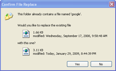 confirm file replace of old google