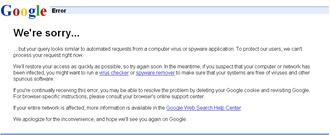 Google Error we're sorry