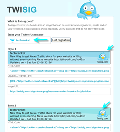 Twitter updates as signature