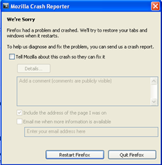 mozilla crash reporter