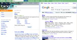 bing vs Google search results