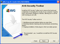 uncheck avg security toolbar