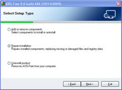 setup type in AVG 9.0