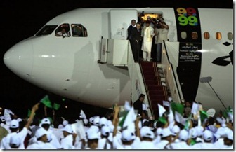 Al Megrahi returns to Libya to be greeted by cheering crowds