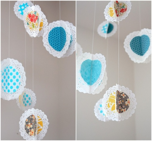 Fabric Doilies Mobile