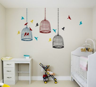 Nursery decor bird stencils