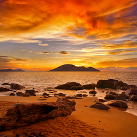 Dramatic Sunset by Dany Fachry - Landscapes Sunsets & Sunrises ( clouds, west kalimantan, indonesia, sunset, beach, landscapes )
