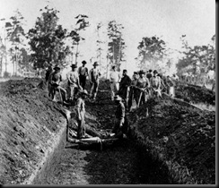 Union prisoners being buried at Andersonville