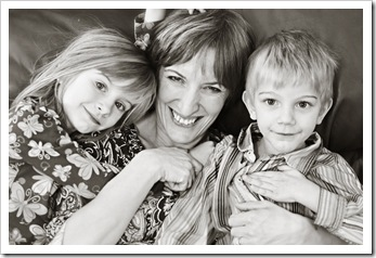 mother and children bw