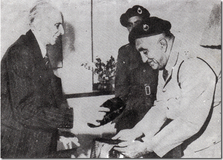 Quaid-e-Azam Receiving a Karakuli Jinnah Cap from the Balochistan National Guards, 1948