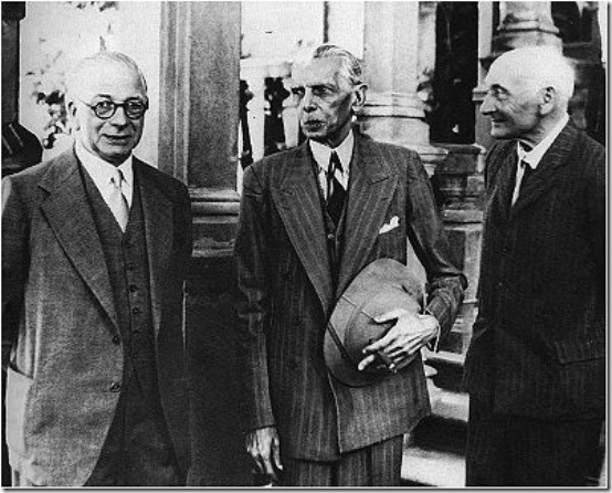 Members of Cabinet Mission to India with the Quaid-e-Azam (center) in 1946