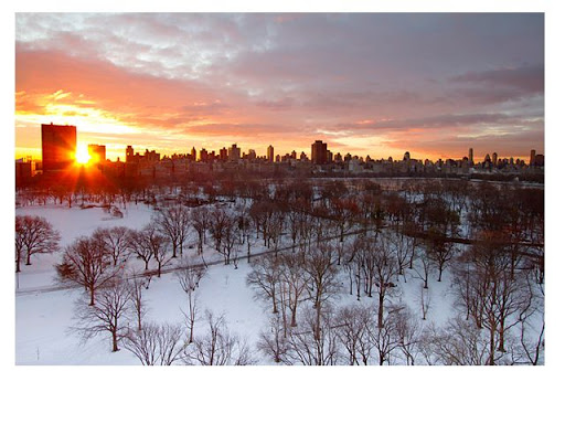 Sunrise over a snow-covered Central Park today.