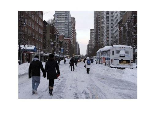 Street of New York City under Snow