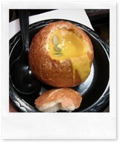 pumpkin soup in cute little bread bowls